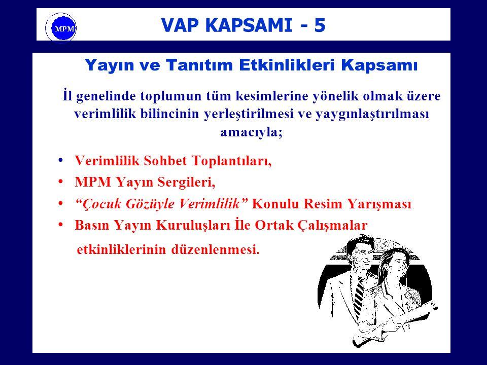 VAP KAPSAMI - 5 Yayın ve Tanıtım Etkinlikleri Kapsamı İl genelinde toplumun tüm kesimlerine yönelik olmak üzere verimlilik bilincinin yerleştirilmesi