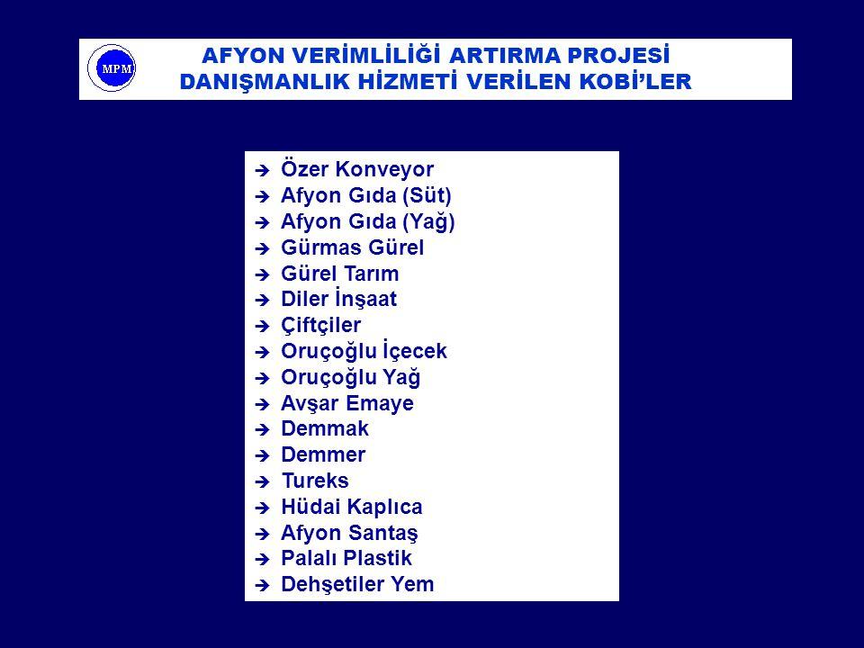 è Özer Konveyor è Afyon Gıda (Süt) è Afyon Gıda (Yağ) è Gürmas Gürel è Gürel Tarım è Diler İnşaat è Çiftçiler è Oruçoğlu İçecek è Oruçoğlu Yağ è Avşar