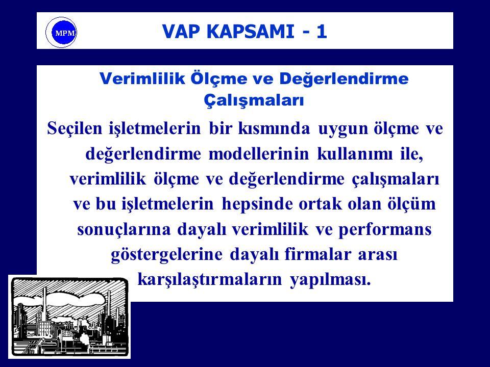 VAP KAPSAMI - 1 Verimlilik Ölçme ve Değerlendirme Çalışmaları Seçilen işletmelerin bir kısmında uygun ölçme ve değerlendirme modellerinin kullanımı il
