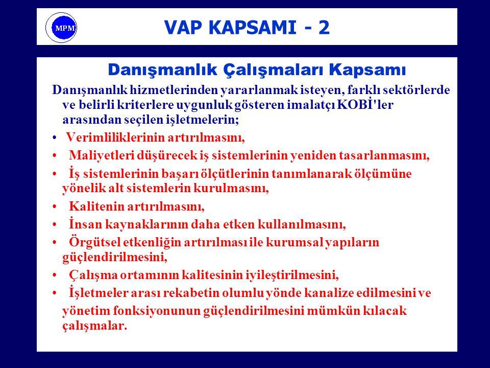 VAP KAPSAMI - 2 Danışmanlık Çalışmaları Kapsamı Danışmanlık hizmetlerinden yararlanmak isteyen, farklı sektörlerde ve belirli kriterlere uygunluk göst