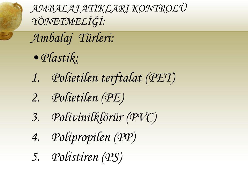 AMBALAJ ATIKLARI KONTROLÜ YÖNETMELİĞİ: Ambalaj Türleri: Plastik: 1.Polietilen terftalat (PET) 2.Polietilen (PE) 3.Polivinilklörür (PVC) 4.Polipropilen