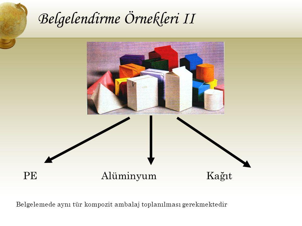 PE Alüminyum Kağıt Belgelemede aynı tür kompozit ambalaj toplanılması gerekmektedir Belgelendirme Örnekleri II