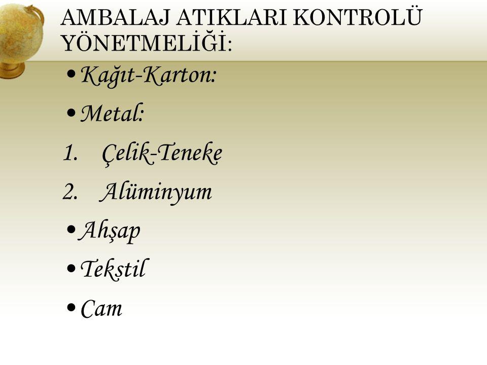 AMBALAJ ATIKLARI KONTROLÜ YÖNETMELİĞİ: Kağıt-Karton: Metal: 1.Çelik-Teneke 2.Alüminyum Ahşap Tekstil Cam