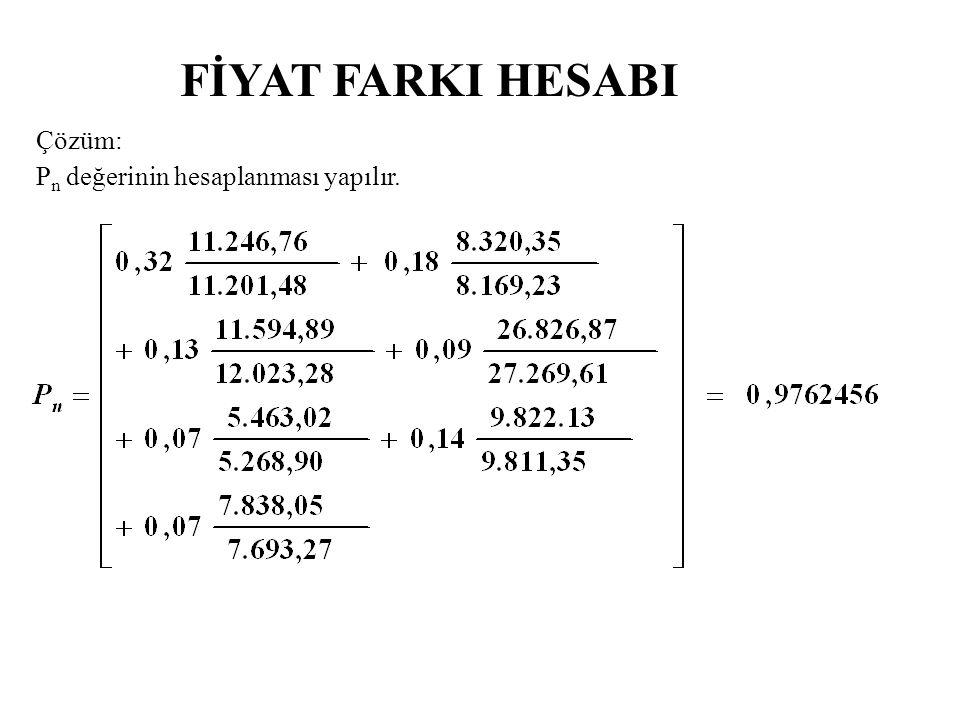 FİYAT FARKI HESABI Çözüm: P n değerinin hesaplanması yapılır.