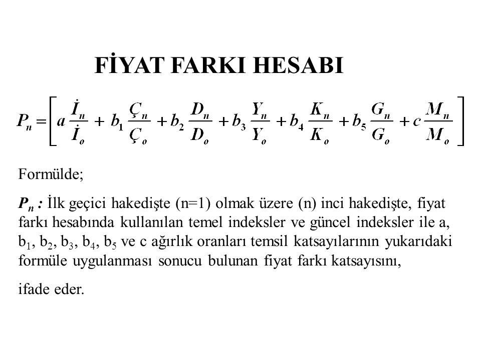 FİYAT FARKI HESABI Formülde; P n : İlk geçici hakedişte (n=1) olmak üzere (n) inci hakedişte, fiyat farkı hesabında kullanılan temel indeksler ve günc