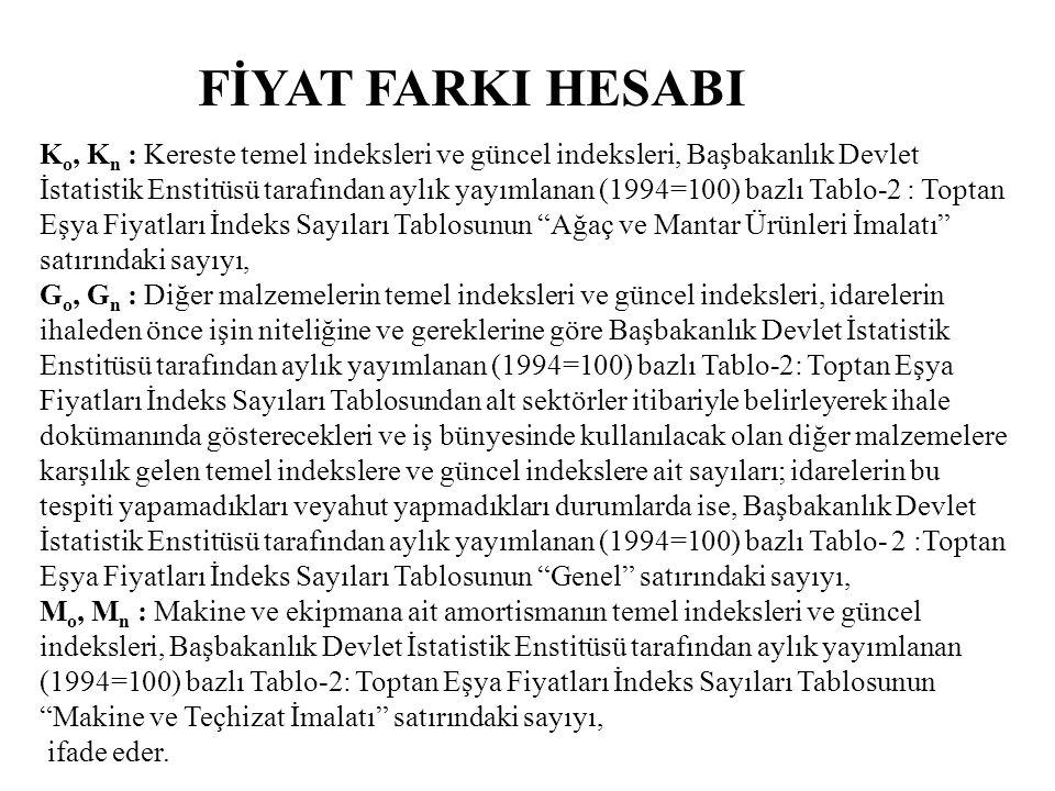 FİYAT FARKI HESABI K o, K n : Kereste temel indeksleri ve güncel indeksleri, Başbakanlık Devlet İstatistik Enstitüsü tarafından aylık yayımlanan (1994