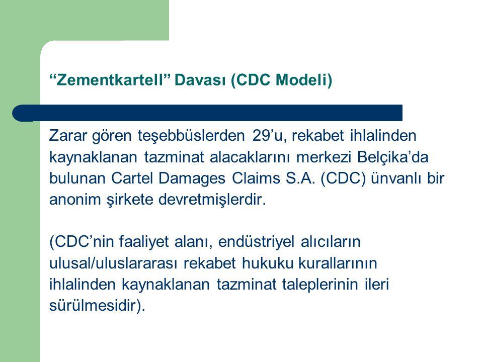 Zementkartell Davası (CDC Modeli) Zarar gören teşebbüslerden 29'u, rekabet ihlalinden kaynaklanan tazminat alacaklarını merkezi Belçika'da bulunan Cartel Damages Claims S.A.