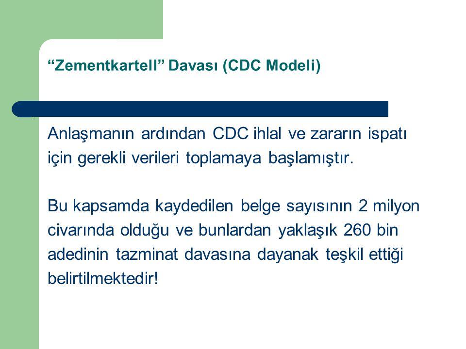 Zementkartell Davası (CDC Modeli) Anlaşmanın ardından CDC ihlal ve zararın ispatı için gerekli verileri toplamaya başlamıştır.