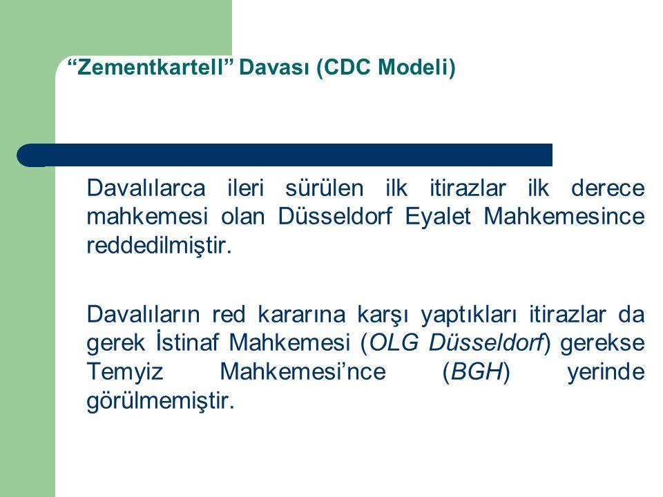 Zementkartell Davası (CDC Modeli) Davalılarca ileri sürülen ilk itirazlar ilk derece mahkemesi olan Düsseldorf Eyalet Mahkemesince reddedilmiştir.