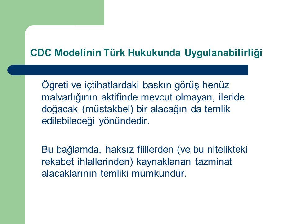 CDC Modelinin Türk Hukukunda Uygulanabilirliği Öğreti ve içtihatlardaki baskın görüş henüz malvarlığının aktifinde mevcut olmayan, ileride doğacak (müstakbel) bir alacağın da temlik edilebileceği yönündedir.