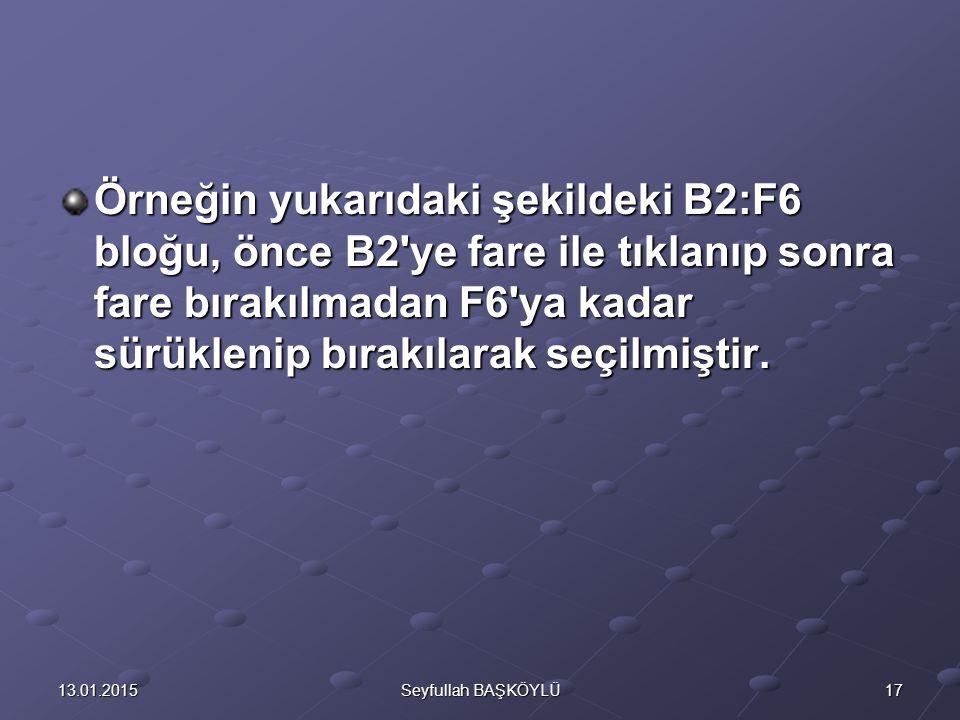 1713.01.2015Seyfullah BAŞKÖYLÜ Örneğin yukarıdaki şekildeki B2:F6 bloğu, önce B2 ye fare ile tıklanıp sonra fare bırakılmadan F6 ya kadar sürüklenip bırakılarak seçilmiştir.