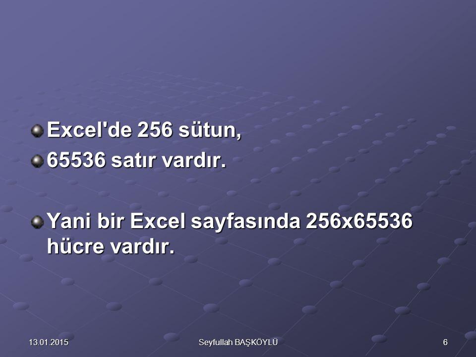 613.01.2015Seyfullah BAŞKÖYLÜ Excel'de 256 sütun, 65536 satır vardır. Yani bir Excel sayfasında 256x65536 hücre vardır.