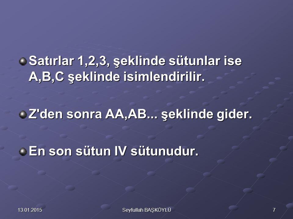713.01.2015Seyfullah BAŞKÖYLÜ Satırlar 1,2,3, şeklinde sütunlar ise A,B,C şeklinde isimlendirilir. Z'den sonra AA,AB... şeklinde gider. En son sütun I