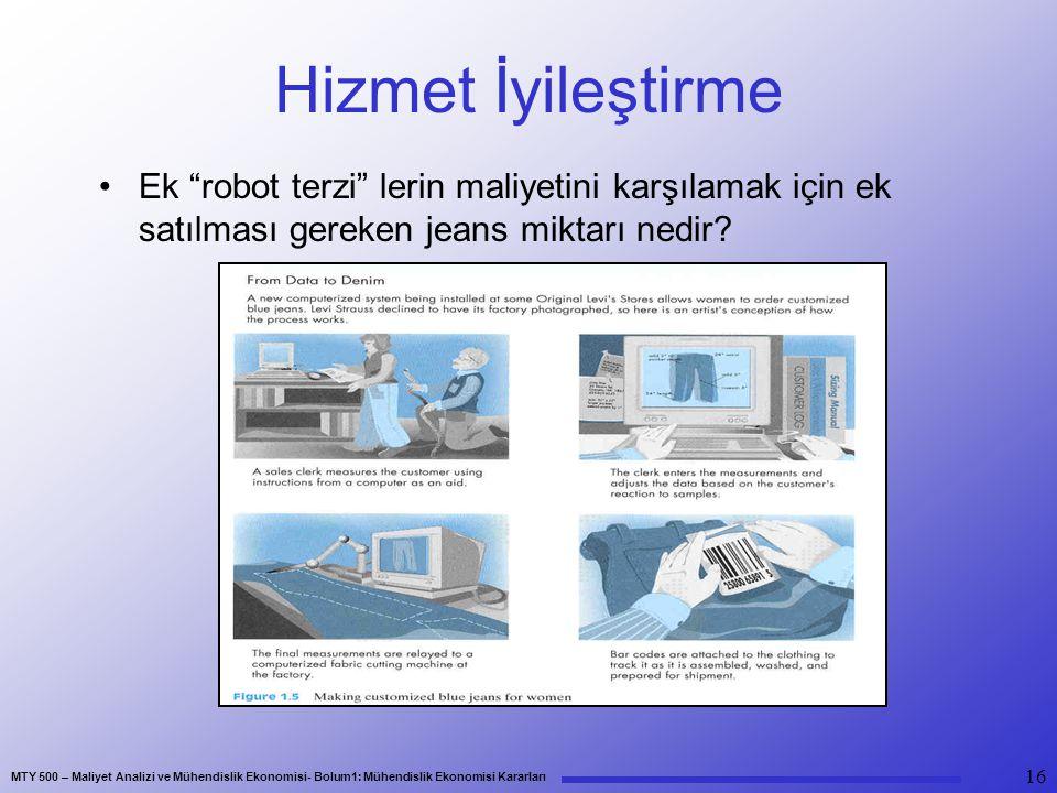 """MTY 500 – Maliyet Analizi ve Mühendislik Ekonomisi- Bolum1: Mühendislik Ekonomisi Kararları 16 Hizmet İyileştirme Ek """"robot terzi"""" lerin maliyetini ka"""