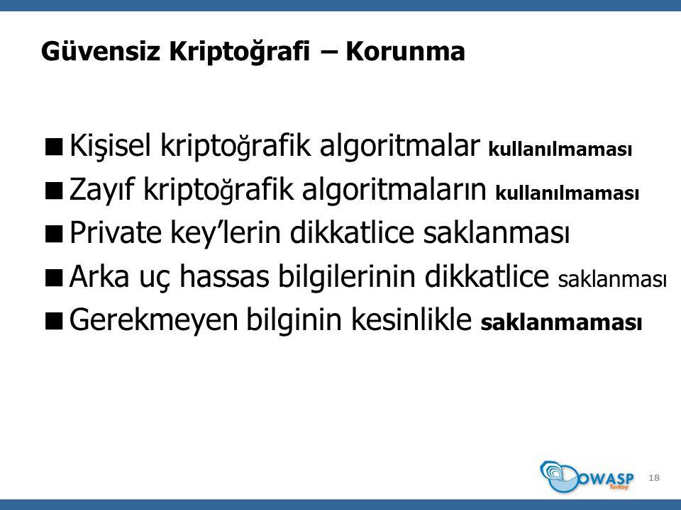 Güvensiz Kriptoğrafi – Korunma  Kişisel kripto ğ rafik algoritmalar kullanılmaması  Zayıf kripto ğ rafik algoritmaların kullanılmaması  Private key