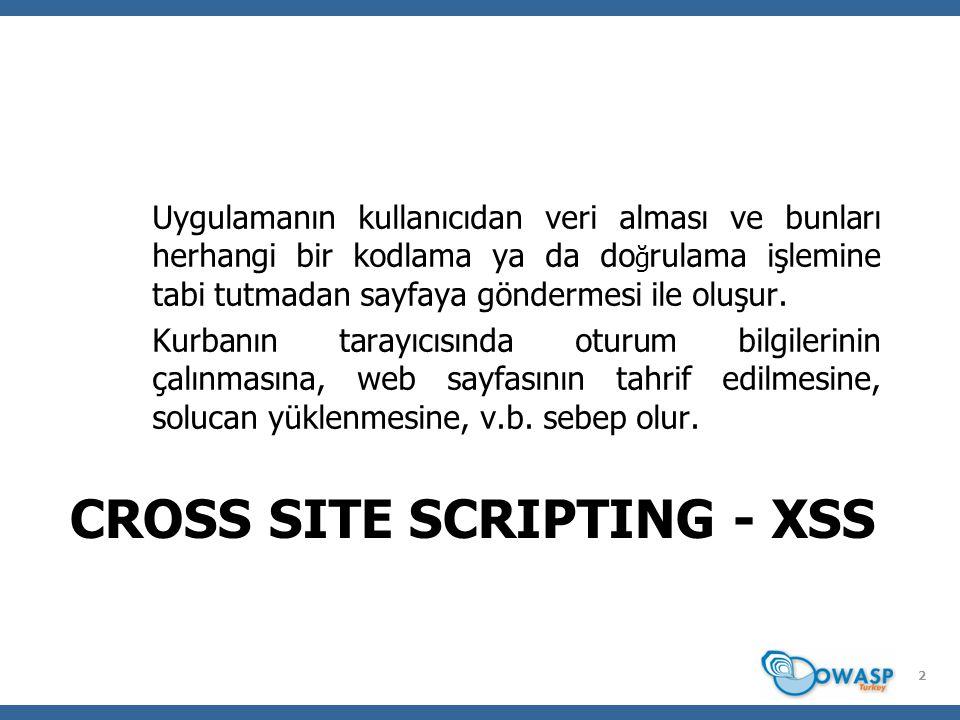 CROSS SITE SCRIPTING - XSS Uygulamanın kullanıcıdan veri alması ve bunları herhangi bir kodlama ya da do ğ rulama işlemine tabi tutmadan sayfaya göndermesi ile oluşur.