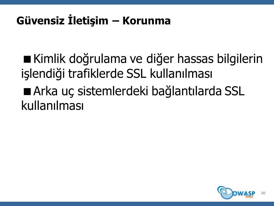 Güvensiz İletişim – Korunma  Kimlik doğrulama ve diğer hassas bilgilerin işlendiği trafiklerde SSL kullanılması  Arka uç sistemlerdeki bağlantılarda SSL kullanılması 20