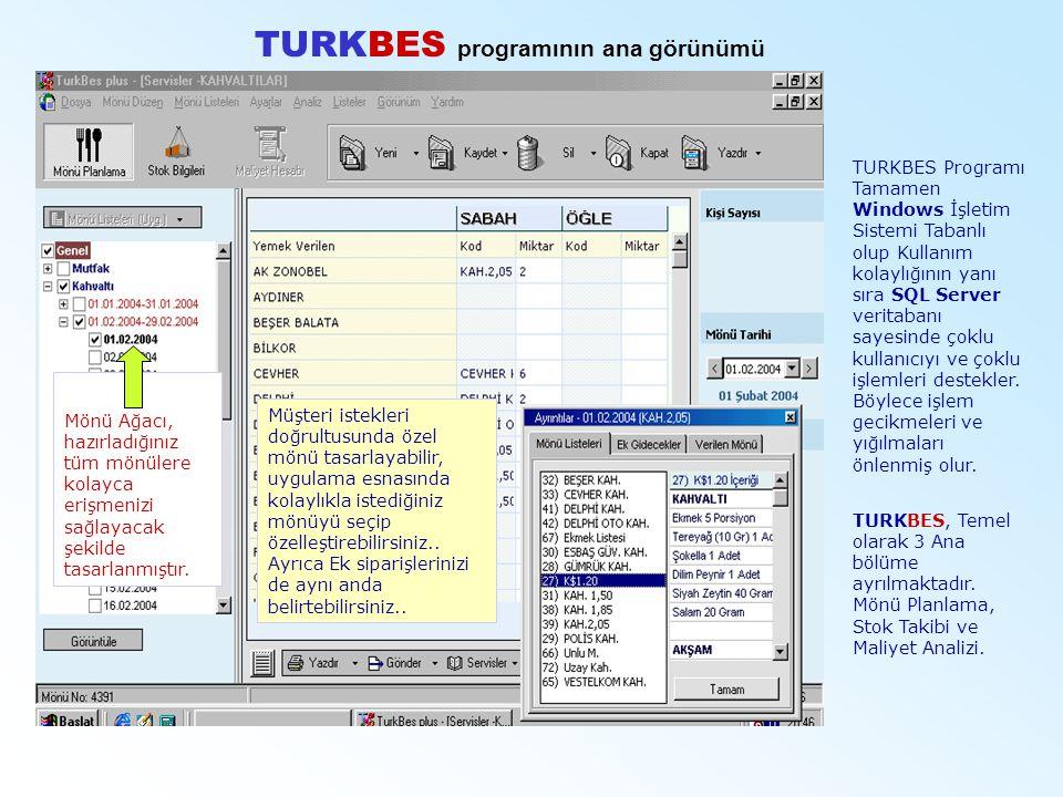 TURKBES programının ana görünümü TURKBES Programı Tamamen Windows İşletim Sistemi Tabanlı olup Kullanım kolaylığının yanı sıra SQL Server veritabanı s