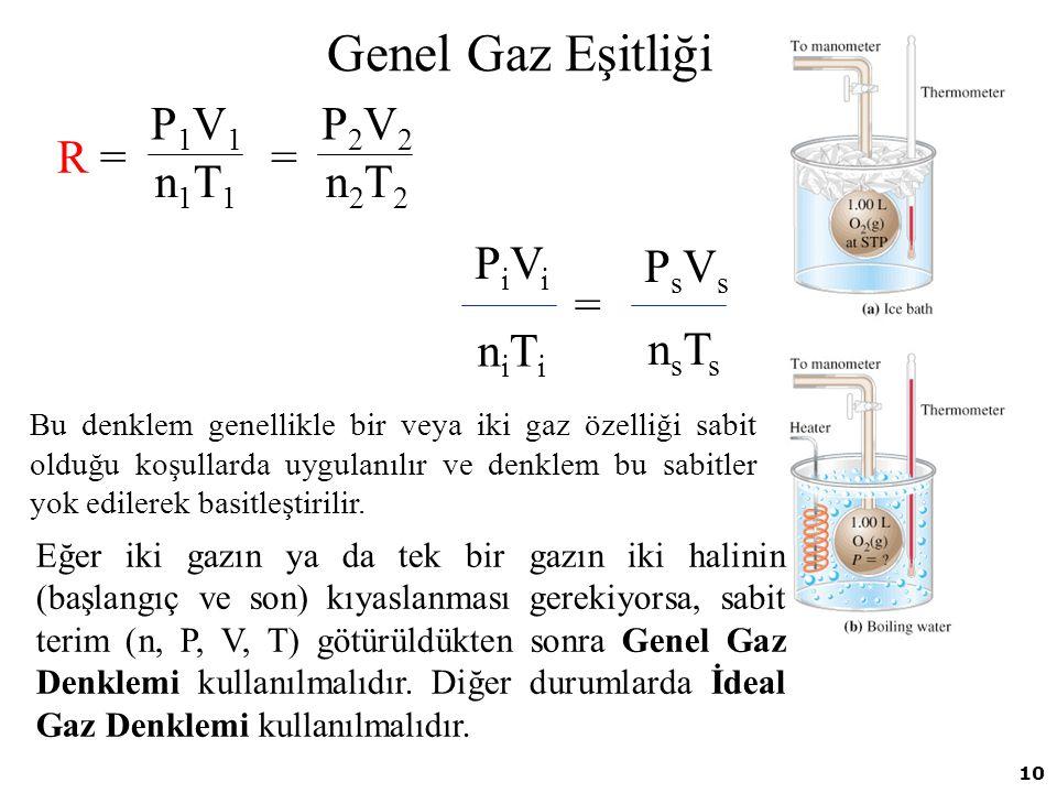 10 Genel Gaz Eşitliği R =R = = P2V2P2V2 n2T2n2T2 P1V1P1V1 n1T1n1T1 = PsVsPsVs nsTsnsTs PiViPiVi niTiniTi Bu denklem genellikle bir veya iki gaz özelli