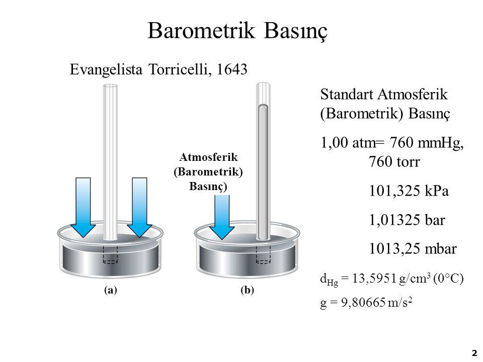 2 Barometrik Basınç Standart Atmosferik (Barometrik) Basınç 1,00 atm= 760 mmHg, 760 torr 101,325 kPa 1,01325 bar 1013,25 mbar Atmosferik (Barometrik)