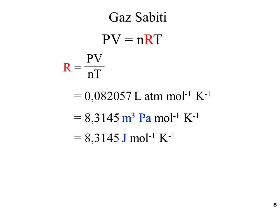 8 Gaz Sabiti R =R = PV nT = 0,082057 L atm mol -1 K -1 = 8.3145 m 3 Pa mol -1 K -1 PV = nRT = 8,3145 J mol -1 K -1 = 8,3145 m 3 Pa mol -1 K -1