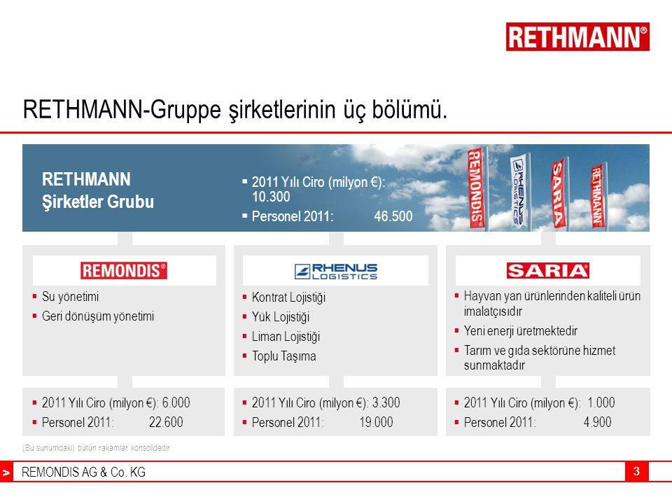 REMONDIS AG & Co. KG > 33 RETHMANN-Gruppe şirketlerinin üç bölümü.  Kontrat Lojistiği  Yük Lojistiği  Liman Lojistiği  Toplu Taşıma  Su yönetimi