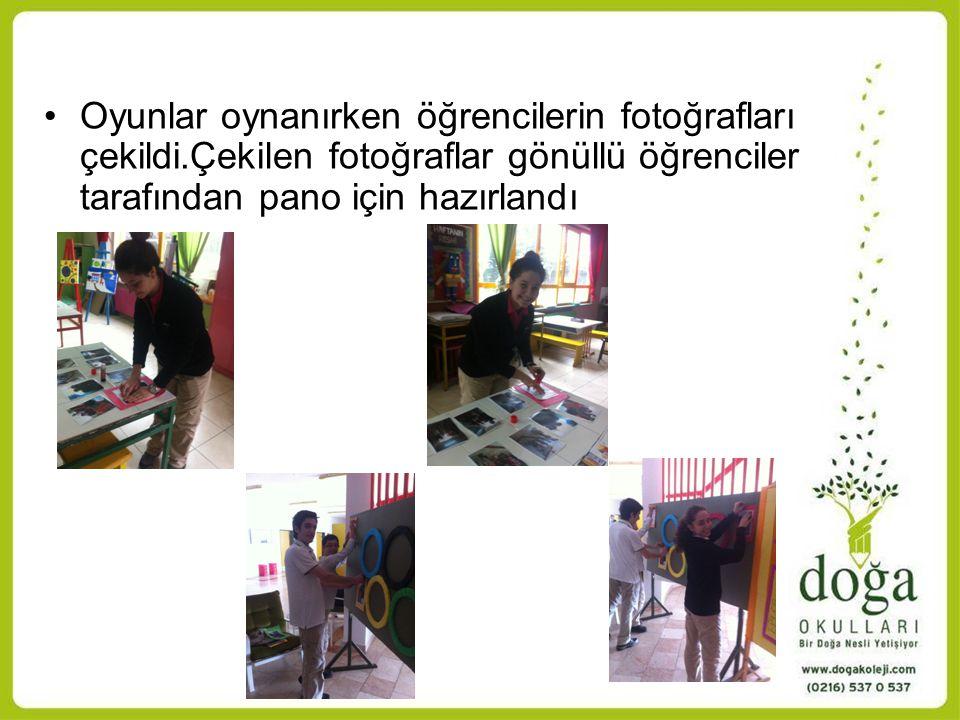 Oyunlar oynanırken öğrencilerin fotoğrafları çekildi.Çekilen fotoğraflar gönüllü öğrenciler tarafından pano için hazırlandı