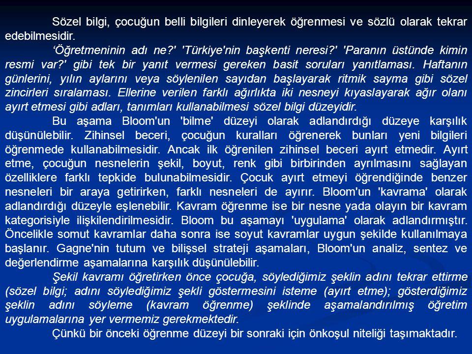 Sözel bilgi, çocuğun belli bilgileri dinleyerek öğrenmesi ve sözlü olarak tekrar edebilmesidir. 'Öğretmeninin adı ne?' 'Türkiye'nin başkenti neresi?'