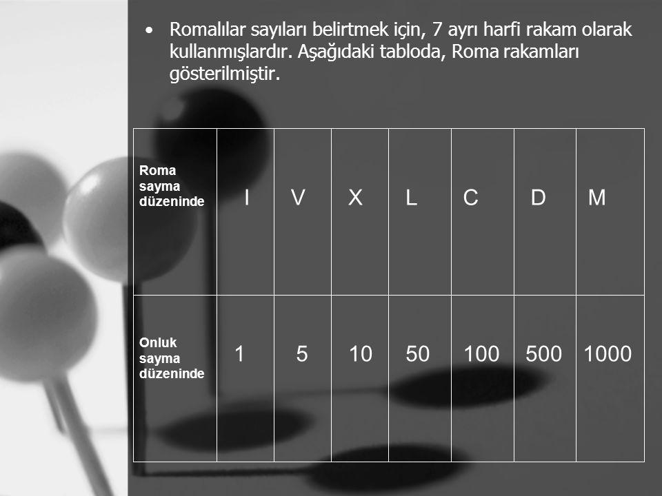 Romalılar sayıları belirtmek için, 7 ayrı harfi rakam olarak kullanmışlardır. Aşağıdaki tabloda, Roma rakamları gösterilmiştir. Roma sayma düzeninde O