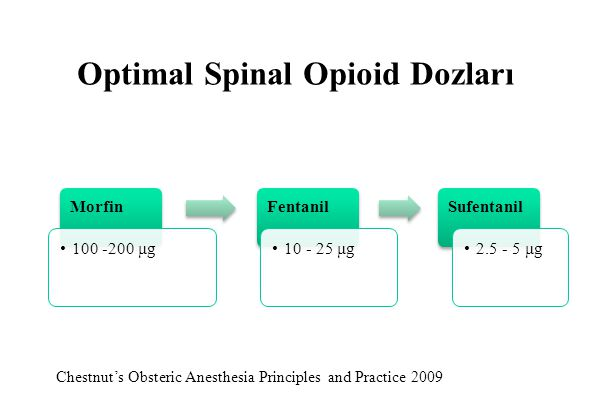 Optimal Spinal Opioid Dozları Chestnut's Obsteric Anesthesia Principles and Practice 2009