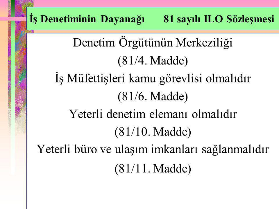İş Denetiminin Dayanağı 81 sayılı ILO Sözleşmesi Denetim Örgütünün Merkeziliği (81/4. Madde) İş Müfettişleri kamu görevlisi olmalıdır (81/6. Madde) Ye