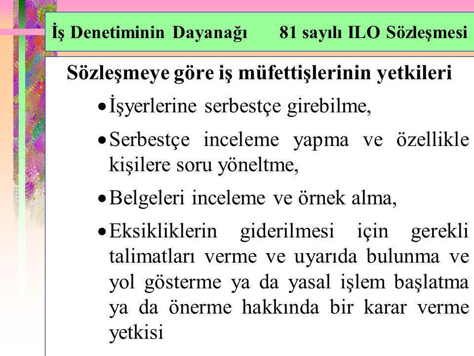 İş Denetiminin Dayanağı 81 sayılı ILO Sözleşmesi Sözleşmeye göre iş müfettişlerinin yetkileri  İşyerlerine serbestçe girebilme,  Serbestçe inceleme