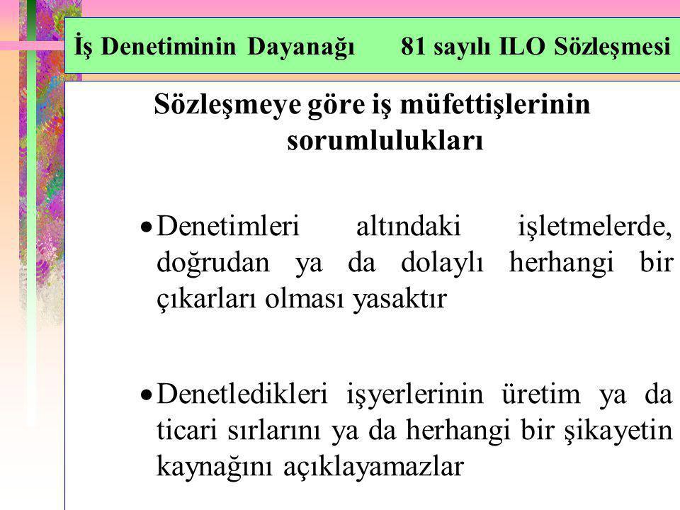 İş Denetiminin Dayanağı 81 sayılı ILO Sözleşmesi Sözleşmeye göre iş müfettişlerinin sorumlulukları  Denetimleri altındaki işletmelerde, doğrudan ya d