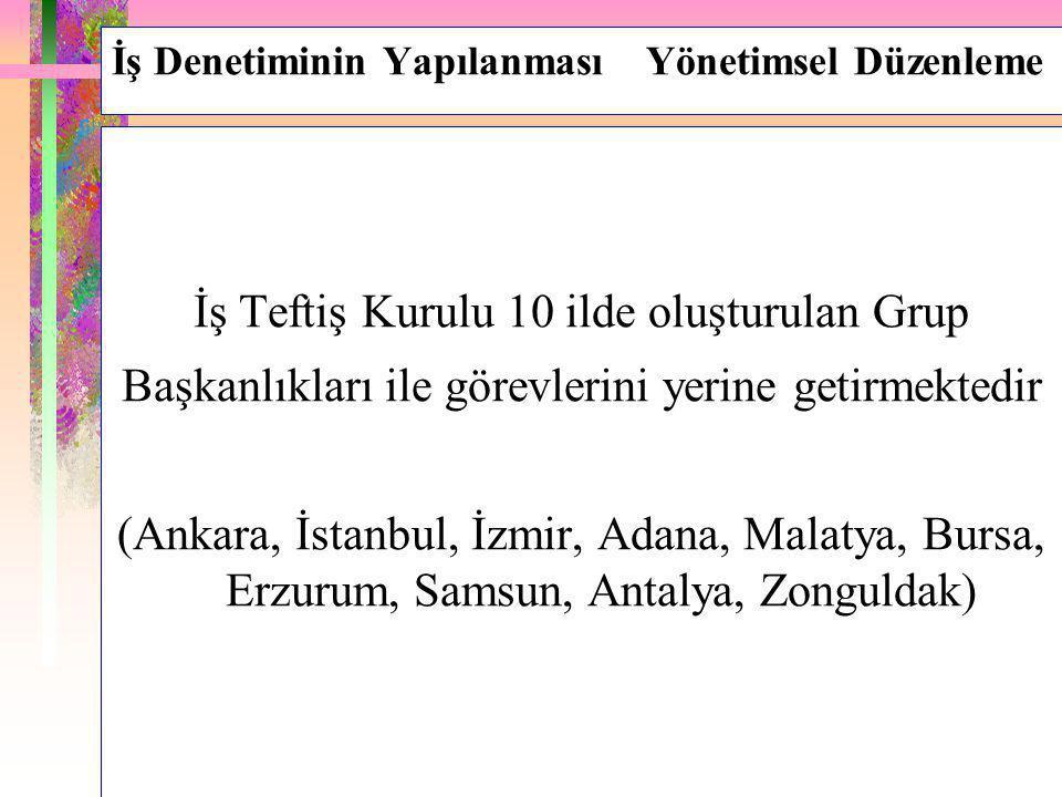 İş Denetiminin Yapılanması Yönetimsel Düzenleme İş Teftiş Kurulu 10 ilde oluşturulan Grup Başkanlıkları ile görevlerini yerine getirmektedir (Ankara,