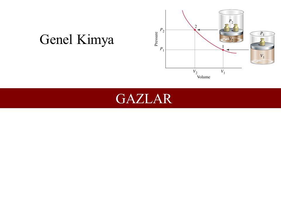 Gerçek Gazlar –PV/nRT > 1 – Moleküler hacim büyük ise.