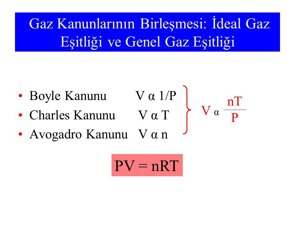Gaz Kanunlarının Birleşmesi: İdeal Gaz Eşitliği ve Genel Gaz Eşitliği Boyle Kanunu V α 1/P Charles Kanunu V α T Avogadro Kanunu V α n PV = nRT V α nT