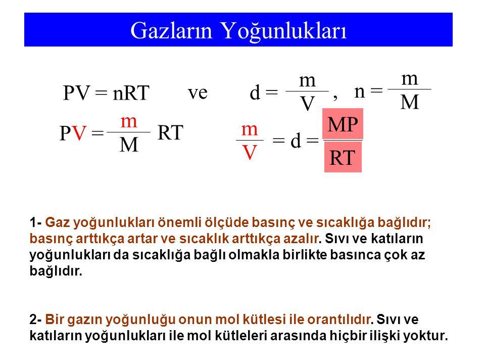 Gazların Yoğunlukları PV = nRT PV =PV = m M RT MP RT V m = d = m m ve d = V, n = M 1- Gaz yoğunlukları önemli ölçüde basınç ve sıcaklığa bağlıdır; bas