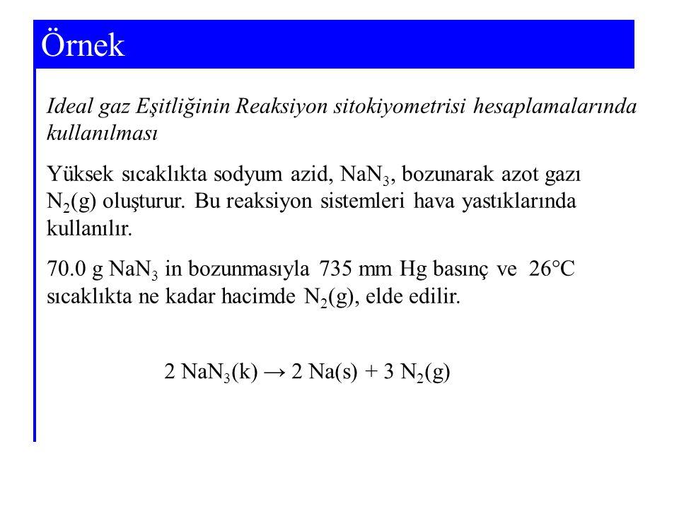 Örnek Ideal gaz Eşitliğinin Reaksiyon sitokiyometrisi hesaplamalarında kullanılması Yüksek sıcaklıkta sodyum azid, NaN 3, bozunarak azot gazı N 2 (g)