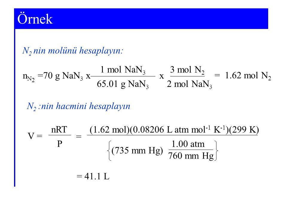 Örnek N 2 nin molünü hesaplayın: N 2 :nin hacmini hesaplayın n N 2 =70 g NaN 3 x 1 mol NaN 3 65.01 g NaN 3 x 3 mol N 2 2 mol NaN 3 = 1.62 mol N 2 = 41