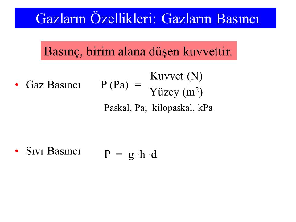 Gazların Özellikleri: Gazların Basıncı Gaz Basıncı Sıvı Basıncı P (Pa) = Yüzey (m 2 ) Kuvvet (N) P = g ·h ·d Basınç, birim alana düşen kuvvettir. Pask