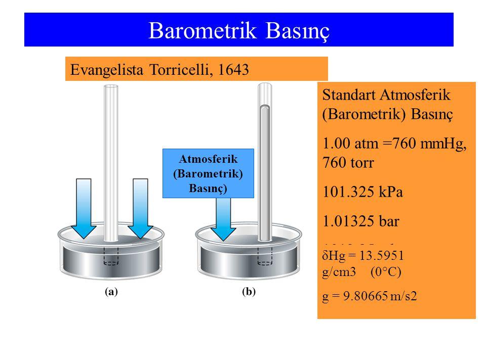 Gazların Yoğunlukları PV = nRT PV =PV = m M RT MP RT V m = d = m m ve d = V, n = M 1- Gaz yoğunlukları önemli ölçüde basınç ve sıcaklığa bağlıdır; basınç arttıkça artar ve sıcaklık arttıkça azalır.