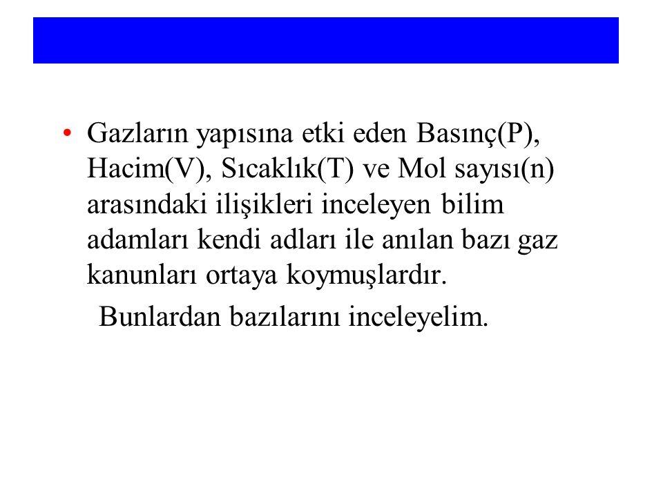 Gaz Sabiti R =R = PV nT = 0.082057 L atm mol -1 K -1 = 8.3145 m 3 Pa mol -1 K -1 PV = nRT = 8.3145 J mol -1 K -1 = 8.3145 m 3 Pa mol -1 K -1