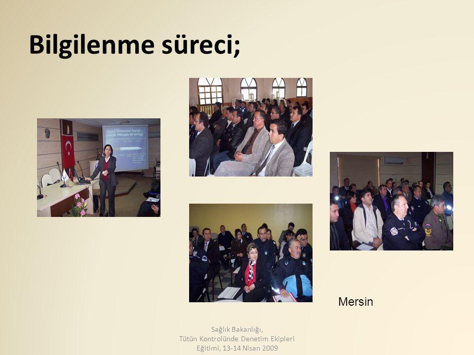 Bilgilenme süreci; Mersin Sağlık Bakanlığı, Tütün Kontrolünde Denetim Ekipleri Eğitimi, 13-14 Nisan 2009