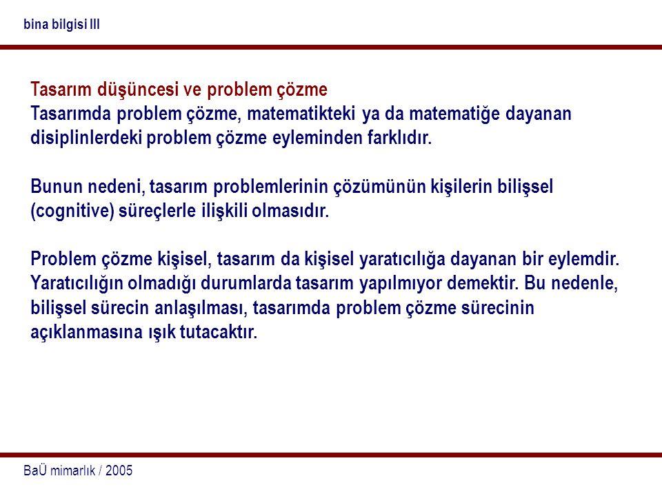 BaÜ mimarlık / 2005 bina bilgisi III Tasarım düşüncesi ve problem çözme Tasarımda problem çözme, matematikteki ya da matematiğe dayanan disiplinlerdek