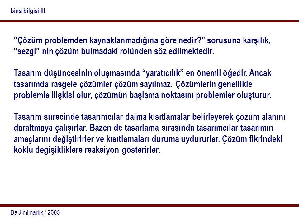 """BaÜ mimarlık / 2005 bina bilgisi III """"Çözüm problemden kaynaklanmadığına göre nedir?"""" sorusuna karşılık, """"sezgi"""" nin çözüm bulmadaki rolünden söz edil"""