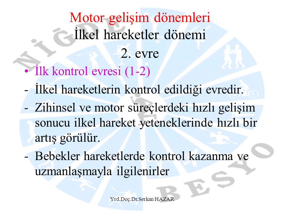 Yrd.Doç.Dr.Serkan HAZAR Motor gelişim dönemleri İlkel hareketler dönemi 2. evre İlk kontrol evresi (1-2) -İlkel hareketlerin kontrol edildiği evredir.