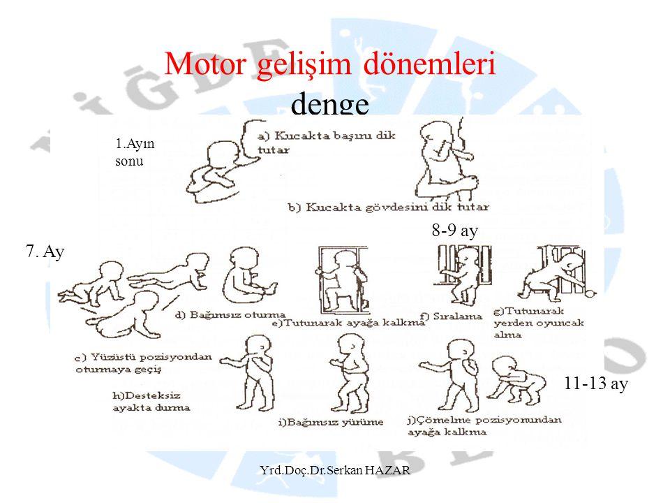 Yrd.Doç.Dr.Serkan HAZAR Motor gelişim dönemleri denge 1.Ayın sonu 7. Ay 8-9 ay 11-13 ay