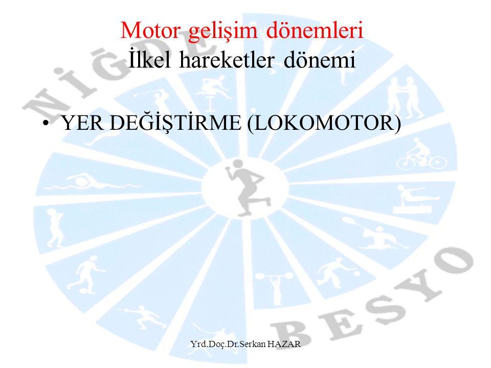 Yrd.Doç.Dr.Serkan HAZAR Motor gelişim dönemleri İlkel hareketler dönemi YER DEĞİŞTİRME (LOKOMOTOR)