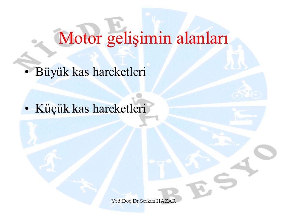 Yrd.Doç.Dr.Serkan HAZAR Motor gelişimin alanları Büyük kas hareketleri Küçük kas hareketleri