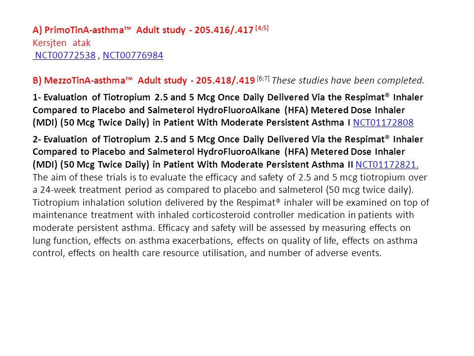 A) PrimoTinA-asthma™ Adult study - 205.416/.417 [4;5] Kersjten atak NCT00772538 NCT00772538, NCT00776984 NCT00776984 B) MezzoTinA-asthma™ Adult study - 205.418/.419 [6;7] These studies have been completed.